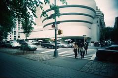 Guggenheim (Jim Davies) Tags: photography analogue film veebotique 35mm vivitar ultrawideandslim uws plastic toycamera kodak ektachrome 160t 160asa slidefilm crossprocessed xpro e6 c41 expired hardexpired newyorkcity nyc newyork manhattan bigapple