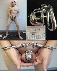 Fully restrained (asiancuffs) Tags: handcuffs handcuffed shackled shackles chastity collar