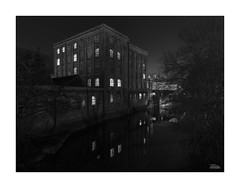 Abbey Mill - Explored! (JRTurnerPhotography) Tags: jaketurner jrturnerphotography canon canon5dmarkiii canon1635mmf4l wideanglelens wideangle 1635mm lserieslens picture print image photo photography photograph photographer abbeymill bradfordonavon riveravon avon wiltshire southwest westcountry england uk gb unitedkingdom greatbritain europe britain british reflection river water dark darkness night town city trees contrast blackandwhite bw mono monochrome longexposure tourist tourism saxon buildings architecture urban