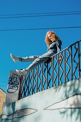 Sunshine day (anastasia_smirnova) Tags: ifttt 500px girl beauty fashion model beautiful female hair glamour pretty face white young light summer blue sky sun sunset nikon nikond3200 vertical one person 80s style fun day daylight warm jeans converse