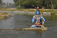 Shiva of Blue on the Cauvery at Ranganthittu (Anoop Negi) Tags: ranganthittu karnataka india mysore bird sanctuary anoop negi ezee123 photo photography shiva hinduism iconography statue blue