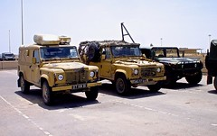 British Army Range Rovers in Basrah, Iraq (e.stromphoto) Tags: iraq damage war wreckage range rover britain hmmwv basrah airport british ied