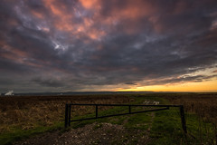 Big Sky Sunset (Rob Pitt) Tags: sunset burton graduated filter marshes wirral cheshire deeside clouds tokina 1116 gate