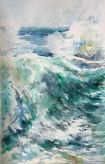 La mer N°11 (geneterre69) Tags: aquarelle watercolor mer océan bleu