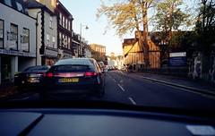 It's Quicker To Walk! (Mike Cook 66) Tags: pollution trafficjam air hertford standrewsstreet walk bus olympusmju11 film pointshoot 35mmfilm 35mmlens hertfordshire