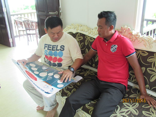 Sim Explaining Poster to the Manager from TAD Marine Resort