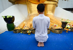 Praying at Buddhist pagoda in Bangkok, Thailand (phuong.sg@gmail.com) Tags: ancient antique architecture art asia asian bangkok belief buddha buddhism buddhist calm church culture design devotion figure god gold golden heritage holy isolate isolated metal peace religion religious sacred sculpture serene serenity siam sitting spirit spiritual spirituality statue temple thai thailand tourism traditional travel venerable white worship