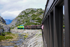 Through the Ravine (ajketh) Tags: wpyr white pass yukon route train passenger railroad tourist 90class ge general electric ravine mountain canada alaska ak
