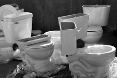 Don't Worry - They're Brand New (KaDeWeGirl) Tags: newyorkcity bronx morrisheights brand new toilets delivery bw
