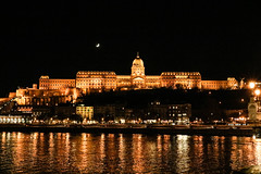 Budapest at night (sirenajing) Tags: budapest city cityscape urban nightphotography lights shadow reflection water river shine moon castle outdoors canon travel dreamy romantic
