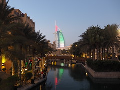 Burj Al Arab - Dubai, U.A.E. 45th National Day (pasaoglu) Tags: dubai burjalarab 45thnationalday flagofuae blauestunde soukmedinat bluesky bluehour