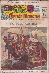 Seals attacking boat Portugese dime novel (steammanofthewest) Tags: portugal pirate seals 1945 captainmorgan dimenovel capitomorgan