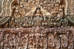 Cambodia - Angkor - Banteay Srey Intricate Carving (zorro1945) Tags: sculpture history asia cambodge cambodia stonecarving carving elephants siemreap angkor indochina banteaysrey buddhaimage templesofangkor stonerelief khmerart sandstonecarving khmerarchitecture
