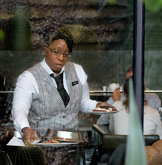 windows cactus people usa plant reflection contrast botanical restaurant uniform pattern desert lasvegas nevada streetphotography streetportrait streetscene dining worker waitress eyeglasses server eatery foodservice evon travelphotography streetportraiture afroamericanwoman waitressing fooddelivery servingtables ariahotel vestandtie blackamericanwoman fotograzio waynegrazio eatinginarestaurant blackwomanworking