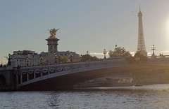 Concorde (Katrinitsa) Tags: city bridge trees sunset sunlight paris france tower monument colors seine architecture reflections river twilight europe cityscape shadows riverside dusk eiffeltower eu eiffel concorde riverboat pont siteseeing cityoflight paris2015