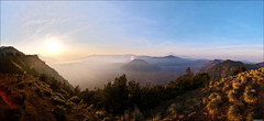 Mount Batok Panorama (TOMMY AU PHOTO) Tags: panorama mountains sunrise indonesia outdoors smoke crater viewpoint volcanic mountsemeru ptgui eastjava kawah bromotenggersemerunationalpark mountbatok