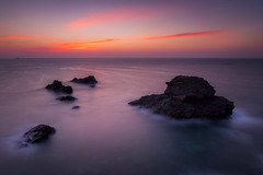Red Sunrise. [Explored & FP 11-06-2015] (dasanes77) Tags: longexposure red sky cliff seascape water clouds sunrise reflections landscape island dawn lights rocks waves shadows horizon tripod shoreline murcia cloudscape cabodepalos waterscape ndfilter magiclight canonef1635mmf4lisusm canoneos6d