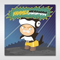 The brutal hammerheadman) (los dibujos de Alapapaj) Tags: blue sea illustration children fun shark kid funny child absurd cartoon superhero ridiculous ilustracin swimm pezmartillo