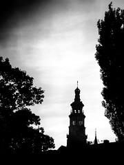 Untitled (Wouter de Bruijn) Tags: blackandwhite monochrome silhouette dark moody grain churchtower fujifilm middelburg langejan xt1 fujinonxf35mmf14r