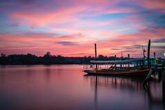 Riverside (K. Apisak) Tags: trip travel trees sky color sunrise river thailand boat riverside phetchaburi landscepe bangtaboon