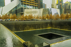 "Memorial Pool At World Trade Center (nrhodesphotos(the_eye_of_the_moment)) Tags: autumn reflection tree water glass leaves metal architecture reflections season construction memorial shadows artistic outdoor worldtradecenter perspective wtc flowing reflectingpool memorialpool modernesque wwwflickrcomphotostheeyeofthemoment ""theeyeofthemomentphotosbynolanhrhodes"" dsc07612300"