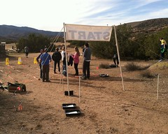 017 The Runners Begin To Arrive (saschmitz_earthlink_net) Tags: california start banner trail orienteering pacificcresttrail participant aguadulce vasquezrocks losangelescounty 2015 laoc losangelesorienteeringclub alanpincus
