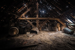 When stars come out (PhotoSolutions | pure photography) Tags: wood light abandoned beer stars nikon barrels decay barrel attic rotten urbanexploring noentrance d800 urbex samyang