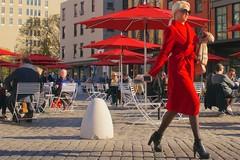newyork sunglasses umbrella walking awning shoes walk manhattan streetphotography reddress greenwichvillage stride yourdon redawning striding highheelshoes gansevoortsquare