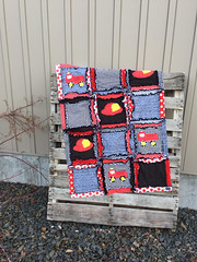 RAG QUILT, Applique Vintage Fireman, Baby Crib Blanket in Red and Black Made to Order (avisiontoremember) Tags: boy red baby black children bed toddler quilt room country nursery cottage firetruck blanket crib fireman decor rag sets comforter bedding babybedding avisiontoremember