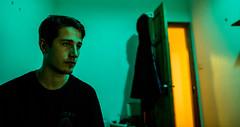 green thoughts (Robin Niedojadlo) Tags: lights colour people moody ornage orange doors eyes face walls rooms bedroom fun