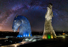 Kelpies star arch v3 (Mr_Souter) Tags: composite night spring milkyway water 2016 easter blue scotland march yellow kelpies canal places europe uk falkirk scale