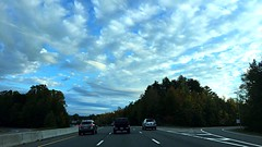 Look at the sky what do you see? (arriyfleming) Tags: cool nature trees seasons fall question relaxing driving road blue sky clouds