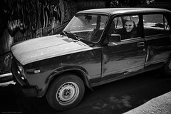 scary Lada movie (jrockar) Tags: streetphotography documentary moscow mask lada car scary movie bw mono blackandwhite canon 5d mk mark 3 iii 1740 l moment instant snap shot horror jrockar janrockar idiot ordinarymadness ordinary madness russia