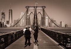 The Brooklyn Bridge (Geoff Livingston) Tags: brooklyn bridge street city urban monochrome newyork manhattan brown sepia