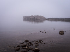 Old broken dock in mist (LuonnonKuvaaja) Tags: lapaluoto harbour raahe finland sea bothnian bay water rocks misty fog evening october dock broken old