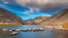 Convict Lake (Jaideep Mann) Tags: convict lake eastern sierra california nevada fall colors aspen yellow sky clouds mountains mount morrison mammoth lakes mono county foliage ll lll sherwin range laurel mountain