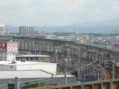 Two levels of railway lines (seikinsou) Tags: japan osaka autumn jr railway train kix kansai airport haruka viaduct stilt track
