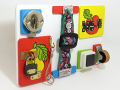 Busy board by Linearahandmade.etsy.com (LinearaHandMade) Tags: wooden eco friendly busy board developmental toddler preschool toy educational lock kids infant special needs game sensory gift
