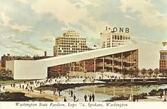 Washington State Pavilion at Expo '74 - Spokane, Washington (The Cardboard America Archives) Tags: pavilion vintage artistsrendering expo74 postcard spokane washington