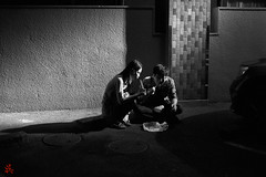 Dinner Time (gullevek) Tags: 20161012ikegamifestival blackandwhite festival fujixt1 fujifilm fujinonxf35mmf2rwr ikegami jp japan light night otaku people things tokyo tokyoto        street         shadow