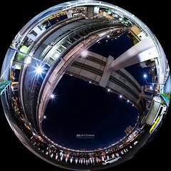 Architectural Ribbon (Art Fiveone) Tags: tokyo shibaura japan nightshot nightview fisheye bridge      yurikamome loop odaiba