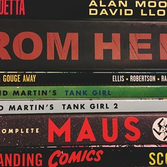Unpacking (312/366) (garrettc) Tags: scottmccloud comics warrenellis jamiehewlett tankgirl maus alanmoore graphicnovels books 366 365