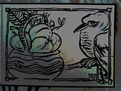 Kookaburra Blockprint by Keith Hansen - circa 1965 - Temptation of Fruit (keiths artwork) Tags: artists diaries by keith hansen international artist