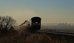 Leaving Denver behind (GLC 392) Tags: amtrak amtk 191 181 front range moffat route train 5 california zephyr denver arvada co colorado climing up hill smog back ground railroad railway passenger ge p42dc