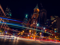 Hustle and bustle (Todd Murrison (Whitby61) off for a while) Tags: toddmurrison canada downtown flatironbuilding getaway longexposure november2016 thedistillerydistrict torontoontario gooderhambuilding traffic nighttime trafficlights movement hustleandbustle dutchangle saturdaynight toronto lightpainting streaks colourful 40seconds datenight beepbeep frontandchurch stlawrencemarket h
