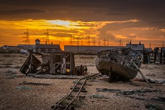 Crooked rails (James Waghorn) Tags: wreck autumn beach d7100 derelict tamronsp70300f456vcusd pebbles railway sunset kent dungeness clouds england rails crooked pylon alone solitude