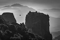 Holy Cableway (Javiralv) Tags: holy meteora greece grecia monasteries monasterios clouds nubes fog mist niebla