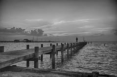 Pondering (lamnn92) Tags: fairhope pier sunset bw hdr mobilebay gulfofmexico seascape cloud sky pentax k50 sigma 1750mm