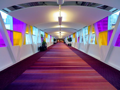 SkyWalk entrance to the Toronto Convention Centre, Toronto, Ontario, Canada (duaneschermerhorn) Tags: skywalk coveredwalkway pedestrianwalkway colorful colors purple yellow red architecture