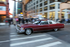 Cinammon (Flint Foto Factory) Tags: chicago illinois urban city autumn fall november 2016 downtown loop monroe wells intersection 1976 cadillac coupe deville red 2door white landau vinyl top moving motion inmotion classic american luxury car morning rushhour traffic worldcars